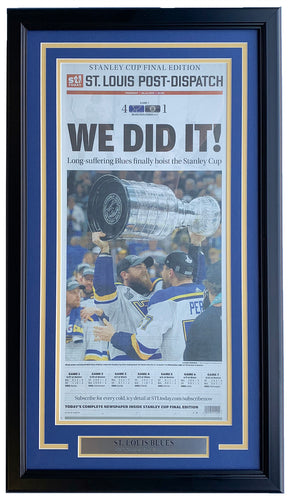 St. Louis Blues Framed June 13 Stanley Cup Champs St. Louis Post Newspaper Cover