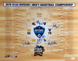 Villanova Signed 16x20 2018 National Champs Bracket Photo JSA Brunson Bridges