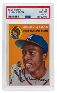 Hank Aaron 1954 Topps #128 Milwaukee Braves Rookie RC Card PSA EX-MT 6 OC