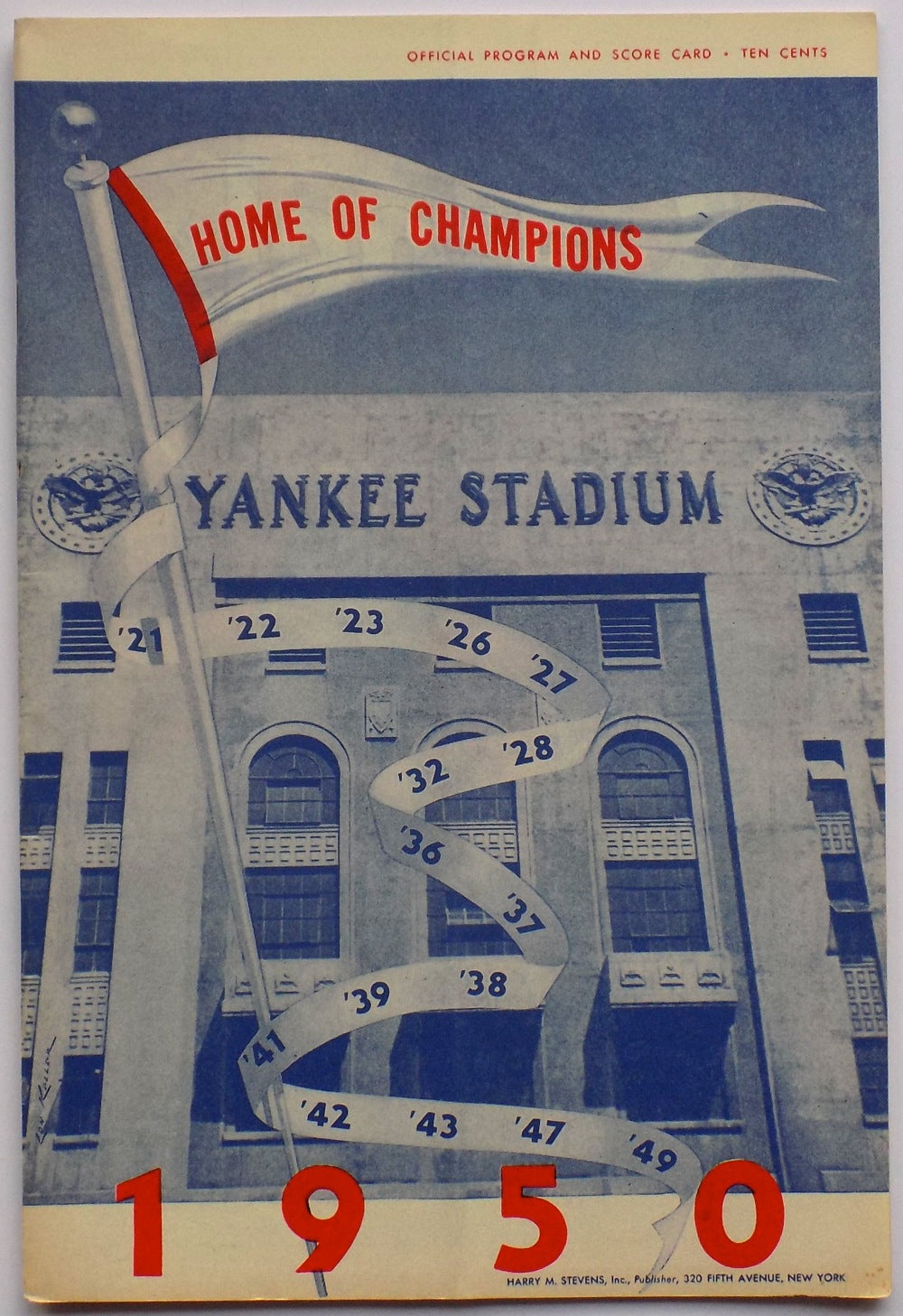 Yankees 1950 Yankee Stadium Home of the Champions Program & Score Card