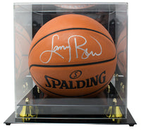 Larry Bird Celtics Signed Spalding Rep Basketball BAS w/ Display Case