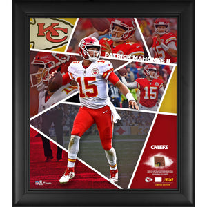 Patrick Mahomes Chiefs Framed 15x17 Collage w/ Game Used Football Piece LE/500