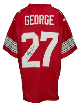 Eddie George Signed Custom Red College-Style Football Jersey BAS