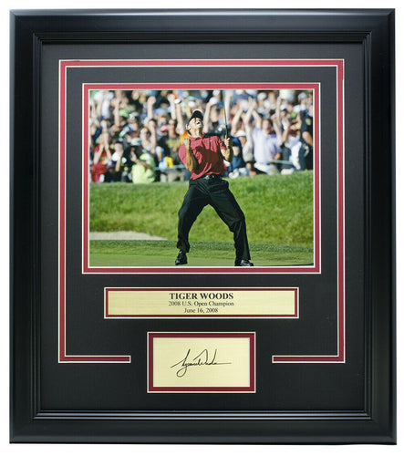 Tiger Woods 2008 U.S. Open Champ Framed 8x10 Photo w/ Laser Engraved Signature