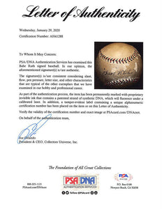Babe Ruth Signed AL Baseball w/ Glass Display Case PSA/DNA LOA AH41288
