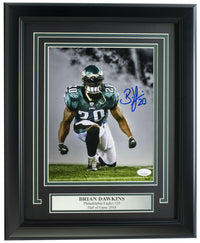 Brian Dawkins Signed Framed Philadelphia Eagles 8x10 Dark Smoke Photo JSA ITP
