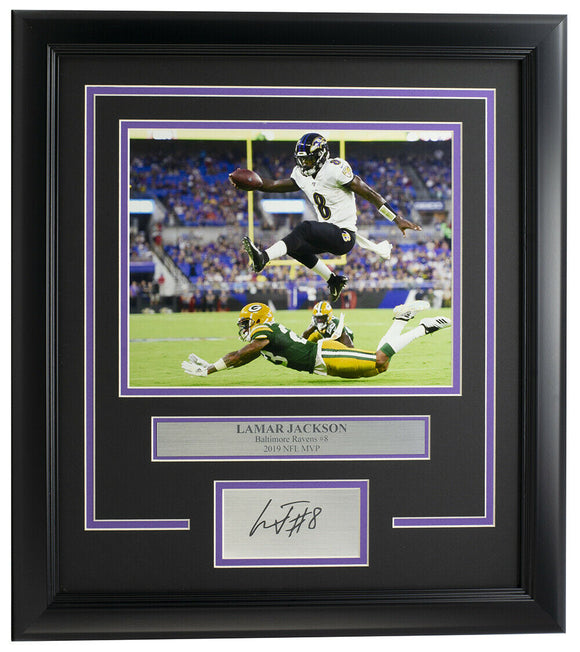 Lamar Jackson Framed Baltimore Ravens 8x10 Photo w/ Laser Engraved Signature
