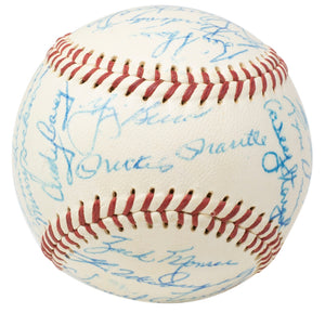 1958 Yankees Team Signed Baseball Berra, Mantle, Ford+22 Other BAS LOA