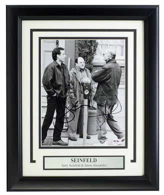 Jerry Seinfeld & Jason Alexander Signed Framed 8x10 Photo PSA AI11276
