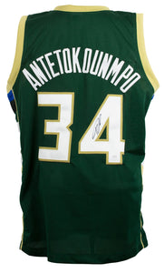 Giannis Greek Freak Antetokounmpo Signed Green Basketball Jersey JSA