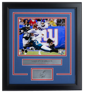 Saquon Barkley Framed Giants 8x10 Photo w/ Laser Engraved Auto