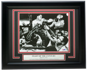 Joe Frazier Signed Framed 8x10 Fight of the Century Boxing Photo PSA