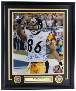Hines Ward Signed Framed Pittsburgh Steelers 16x20 Football Photo JSA