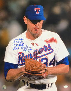 Nolan Ryan Signed Rangers 16x20 Vertical 4x Inscriptions Photo JSA+Ryan Holo