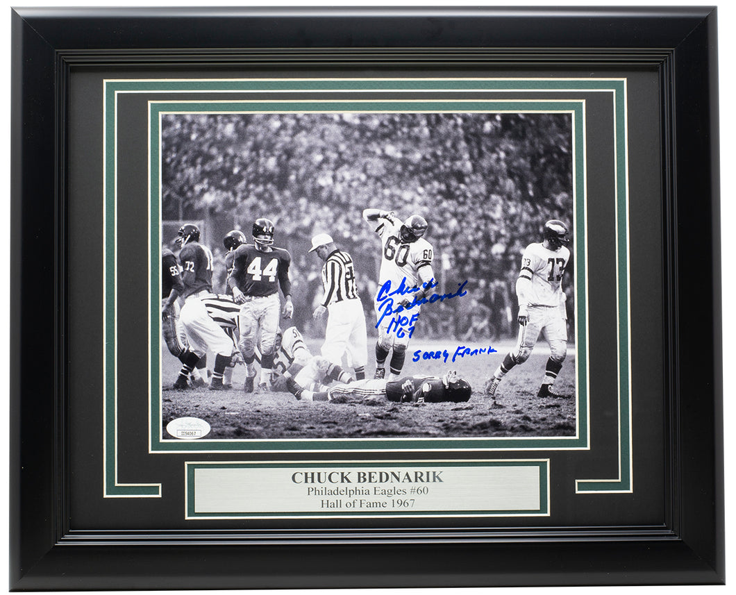 Chuck Bednarik Signed Framed Eagles 8x10 Photo HOF Sorry Frank JSA
