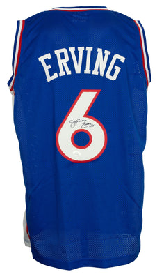 Julius Dr. J Erving Signed Custom Blue Pro-Style Basketball Jersey JSA