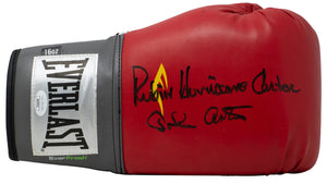 Rubin Hurricane Carter&John Artis Signed Red Everlast Boxing Glove JSA