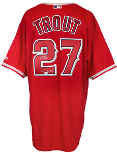 Mike Trout Signed L.A Angels Majestic Cool Red Baseball Jersey ROY MLB