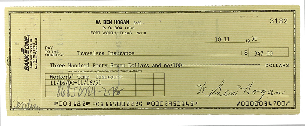 Ben Hogan Signed 1990 Personal Bank Check #3182 JSA