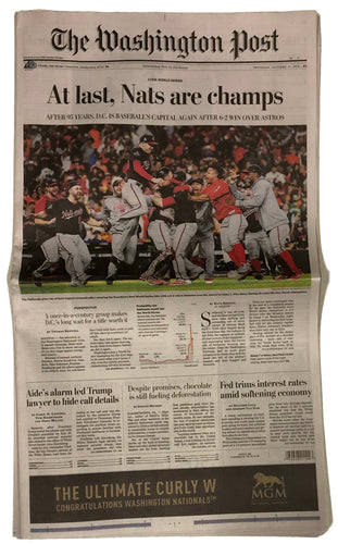 Washington Nationals World Series Champions 10/31 Washington Post Full Newspaper