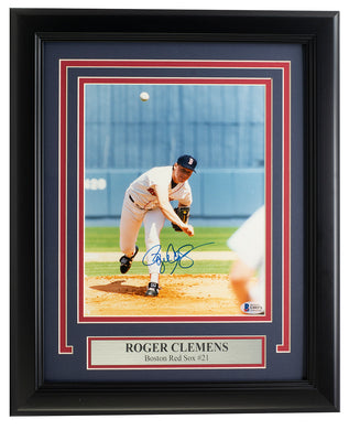 Roger Clemens Signed Framed 8x10 Boston Red Sox Baseball Photo BAS