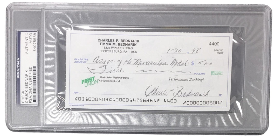 Chuck Bednarik Eagles Signed Slabbed Personal Bank Check PSA 84075588
