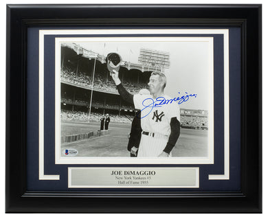 Joe DiMaggio Signed Framed New York Yankees 8x10 Photo BAS Hologram A21669