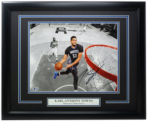 KarlAnthonyTowns Signed Framed 11x14 Timberwolves Spotlight Photo BAS