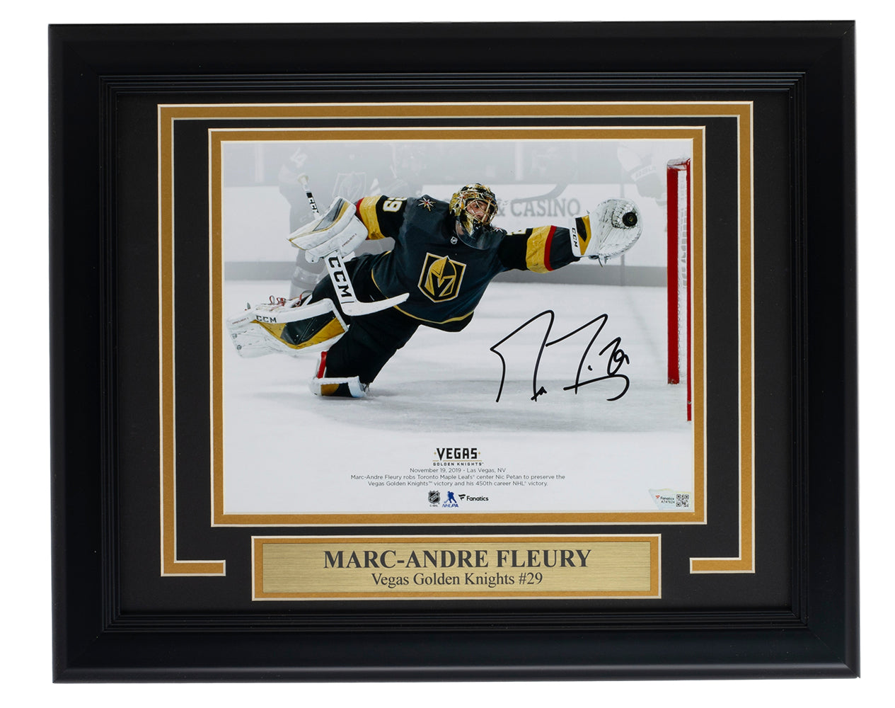 Marc-Andre Fleury Signed Framed 8x10 Golden Knights Photo Fanatics