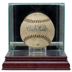 Babe Ruth Signed Yankees Baseball w/Case Graded 8 PSA/DNA LOA AH05880