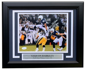 Saquon Barkley Signed Framed 8x10 Penn State vs Iowa Photo Signature Debut JSA