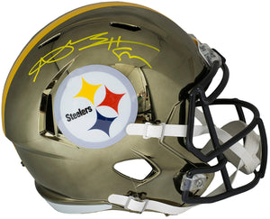 Antonio Brown Signed Pittsburgh Steelers Full Size Chrome Speed Rep Helmet BAS
