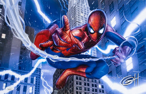 Spider-Man Lightning 11x17 Lithograph Signed By Greg Horn JSA