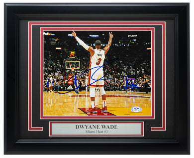 Dwayne Wade Signed Framed 8x10 Miami Heat Basketball Photo PSA/DNA