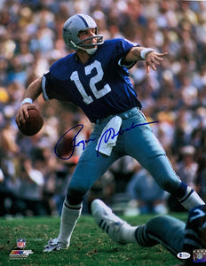 Roger Staubach Signed 16x20 Dallas Cowboys Blue Jersey Photo BAS