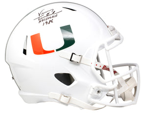 "Vinny Testaverde Signed  Full Size White Speed Rep Helmet ""Heisman"" JSA"