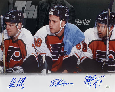 Lindros Renberg Leclair Signed 16x20 Flyers LOD Bench Spotlight Photo JSA