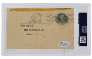 Cy Young Signed 1951 Government Postcard Slabbed PSA/DNA Mint 9
