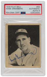 Hank Greenberg Signed 1939 #56 Detroit Tigers Play Ball Card PSA Auto9