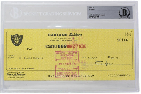 Al Davis Signed Oakland Raiders Personal Bank Check #10144 BGS - Sports Integrity