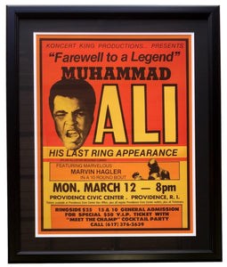 Muhammad Ali Framed 18x24 1979 Farewell Hagler vs Patterson Replica Fight Poster