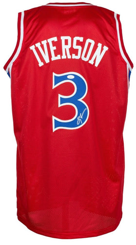 Allen Iverson Signed Custom Red Pro Style Basketball Jersey JSA ITP - Sports Integrity