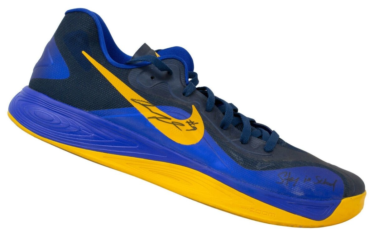 Andre Iguodala Signed Rt Blue Nike Basketball Shoe Stay in School BAS - Sports Integrity