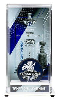 Andrei Vasilevskiy Signed Lightning Stanley Cup Champs Logo Puck w/Case Fanatics - Sports Integrity