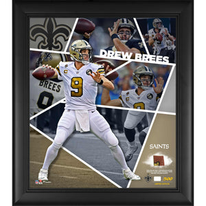 Drew Brees Saints Framed 15x17 Collage w/ Piece of Game-Used Football LE 500