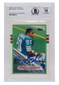 Barry Sanders Signed 1989 Topps #83T Detroit Lions Football Card BGS Auto 10 - Sports Integrity