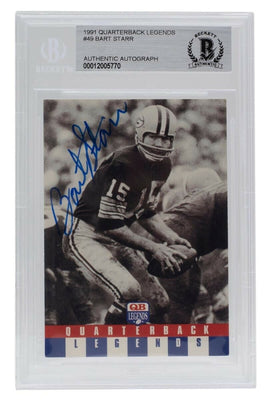 Bart Starr Packers Signed Slabbed 1991 Quarterback Legends 49 Card BAS - Sports Integrity