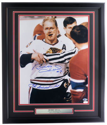 Bobby Hull Signed Blackhawks 16x20 Photo The Golden Jet BAS+JSA Holo