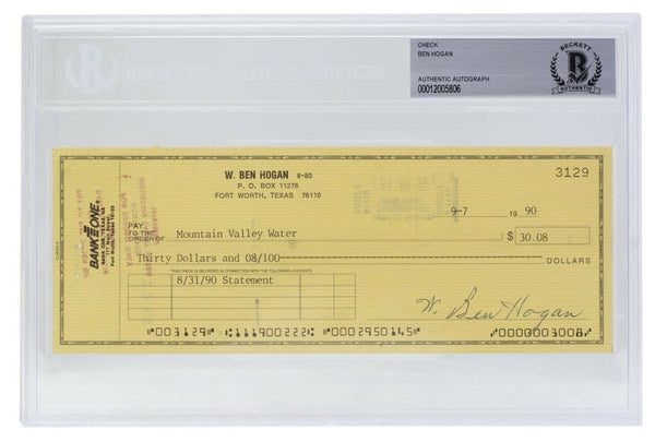 Ben Hogan Signed Personal Check #3129 9/7/1990 Slabbed BAS - Sports Integrity