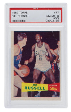 Bill Russell 1957 Topps #77 Rookie Celtics Basketball Card PSA NM-MT 8 (OC) - Sports Integrity